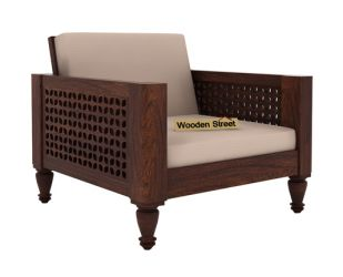 Angelica 1 Seater Wooden Sofa (Walnut Finish)