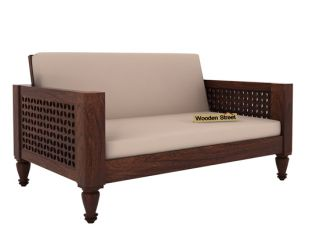 Angelica 2 Seater Wooden Sofa (Walnut Finish)