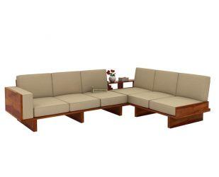 Audrey 6 Seater L Shape Corner Sofa Set (Honey Finish)