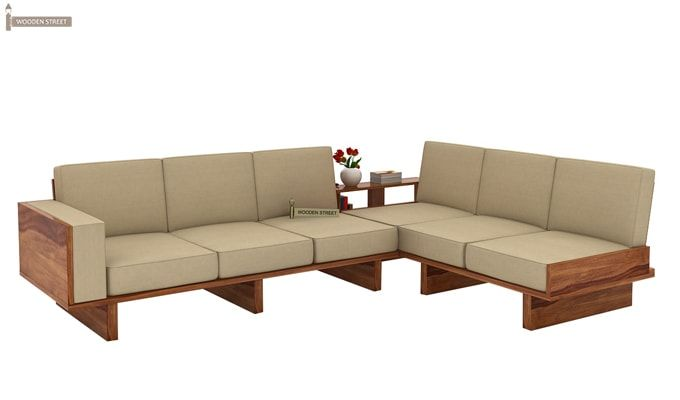 Audrey 6 Seater L Shape Corner Sofa Set (Teak Finish)-1