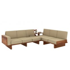 Audrey 6 Seater L Shape Corner Sofa Set (Teak Finish)