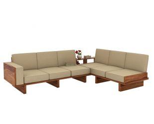 Audrey 6 Seater L Shape Corner Sofa Set (Teak Finish)