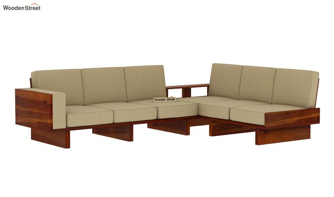 Audrey 6 Seater L Shape Corner Sofa Set (Honey Finish)-3