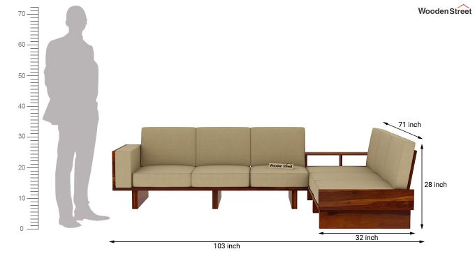 Audrey 6 Seater L Shape Corner Sofa Set (Honey Finish)-10