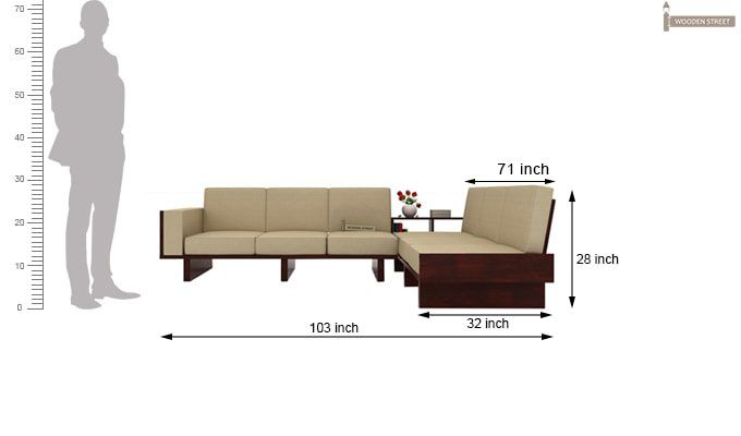 Audrey 6 Seater L Shape Corner Sofa Set (Mahogany Finish)-4