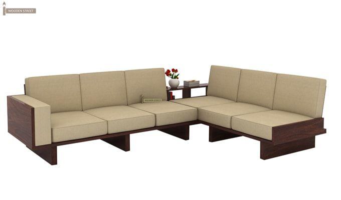 Audrey 6 Seater L Shape Corner Sofa Set (Walnut Finish)-2
