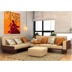 Audrey 6 Seater L Shape Corner Sofa Set (Walnut Finish)