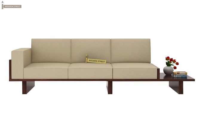 Azlin 3 Seater Wooden Sofa (Walnut Finish)-4