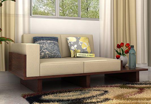 Azlin 2 Seater Wooden Sofa (Walnut Finish)