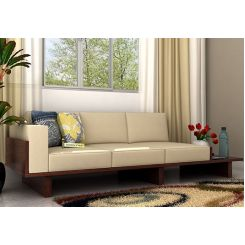 Azlin 3 Seater Wooden Sofa (Walnut Finish)