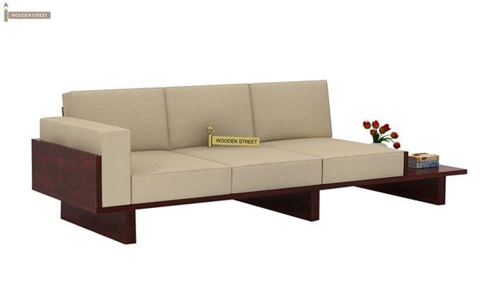 Azlin 3 Seater Wooden Sofa (Mahogany Finish)-1