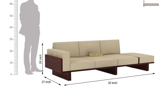 Azlin 3 Seater Wooden Sofa (Mahogany Finish)-5