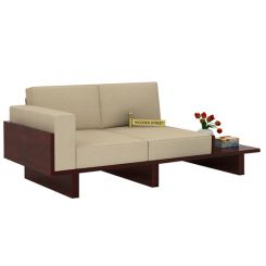 Azlin 2 Seater Wooden Sofa (Mahogany Finish)