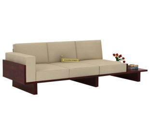 Azlin 3 Seater Wooden Sofa (Mahogany Finish)