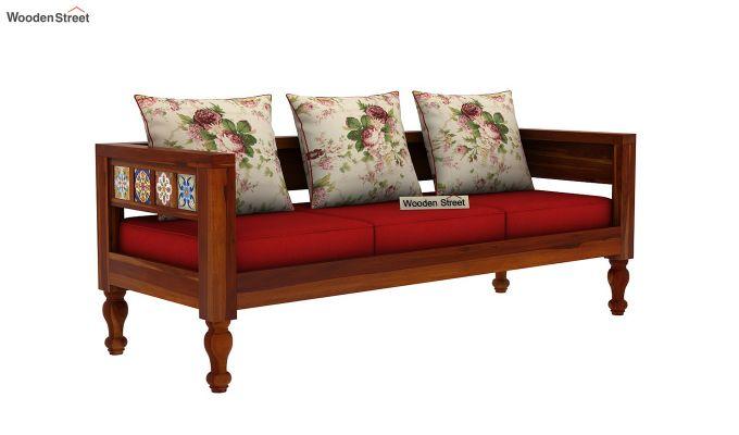 Boho 3 Seater Wooden Sofa (Honey Finish)-2