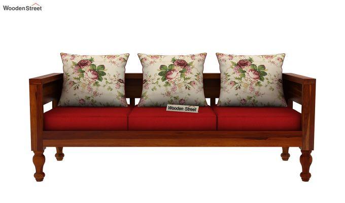Boho 3 Seater Wooden Sofa (Honey Finish)-3