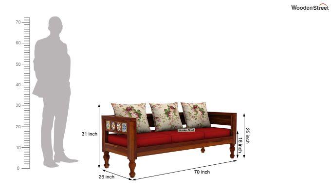 Boho 3 Seater Wooden Sofa (Honey Finish)-4