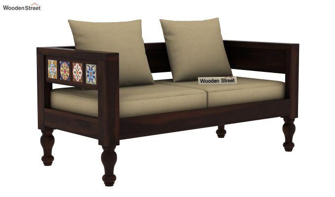 Boho 2 Seater Wooden Sofa (Walnut Finish)-1