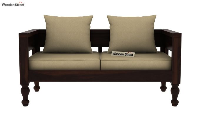 Boho 2 Seater Wooden Sofa (Walnut Finish)-2