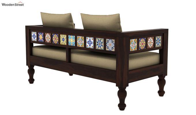 Boho 2 Seater Wooden Sofa (Walnut Finish)-3