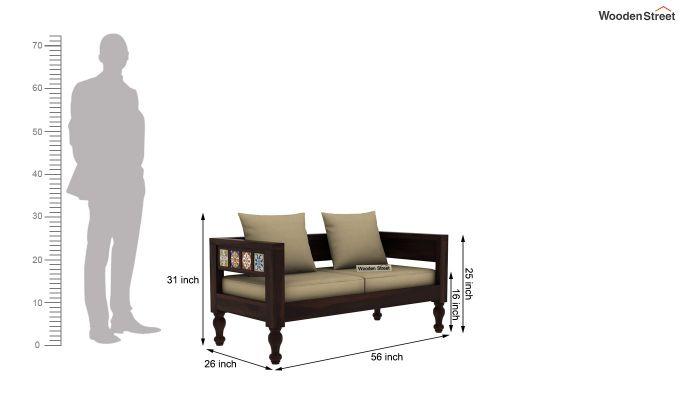 Boho 2 Seater Wooden Sofa (Walnut Finish)-4