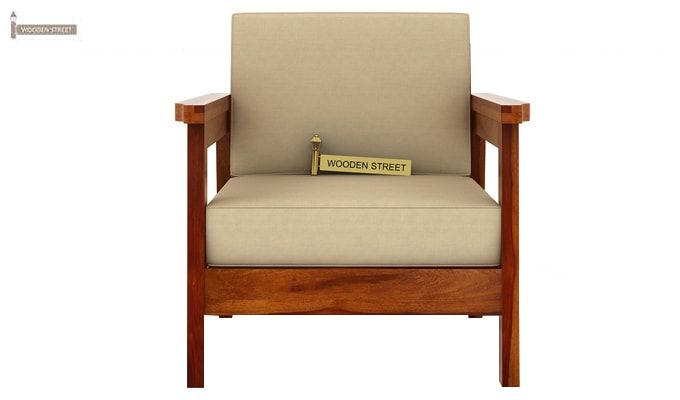 Conan 1 Seater Wooden Sofa (Honey Finish)-2