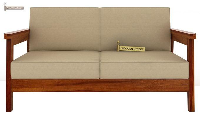 Conan 2 Seater Wooden Sofa (Honey Finish)-2