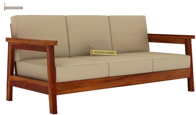 Conan 3 Seater Wooden Sofa (Honey Finish)-1