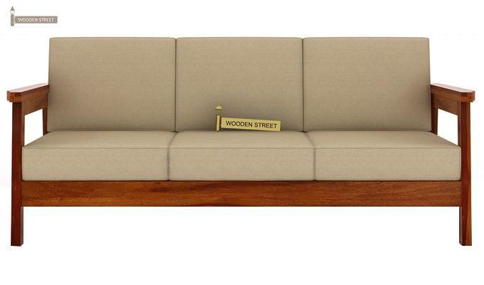 Conan 3 Seater Wooden Sofa (Honey Finish)-2