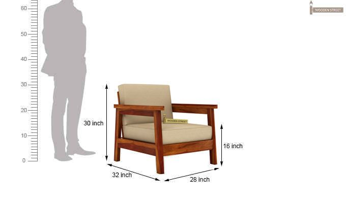 Conan 1 Seater Wooden Sofa (Honey Finish)-3