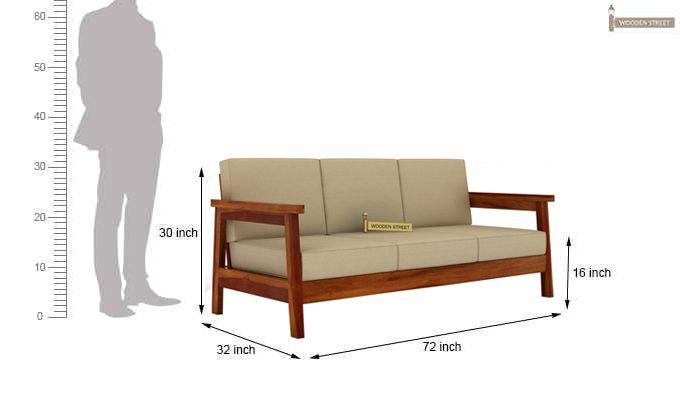 Conan 3 Seater Wooden Sofa (Honey Finish)-3