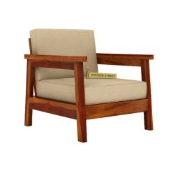 Conan 1 Seater Wooden Sofa (Honey Finish)