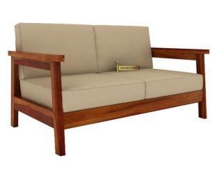 Conan 2 Seater Wooden Sofa (Honey Finish)