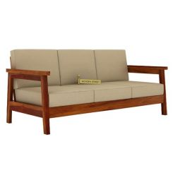 Conan 3 Seater Wooden Sofa (Honey Finish)
