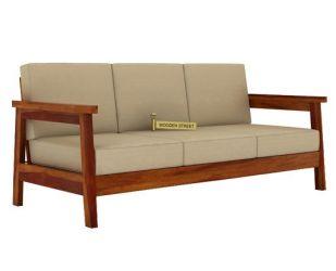 Conan 3 Seater Wooden Sofa (Honey Finish)