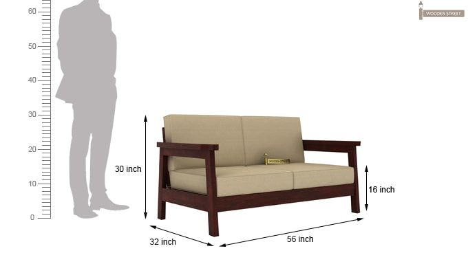 Conan Wooden Sofa 2+1+1 Set (Mahogany Finish)-7