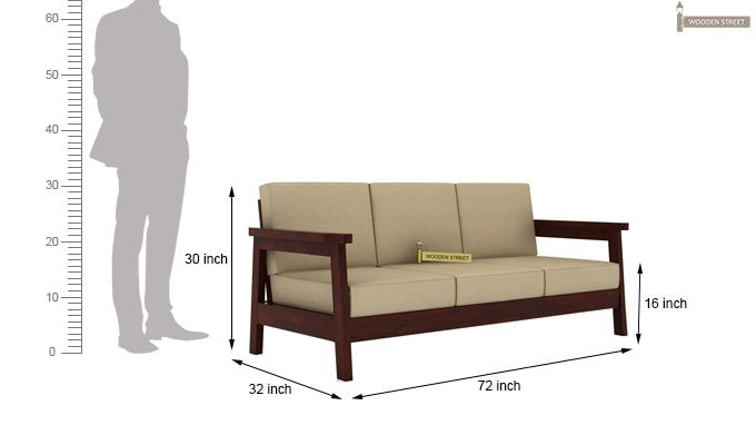 Conan Wooden Sofa 3+1+1 Set (Mahogany Finish)-7