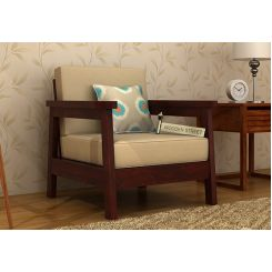 Conan 1 Seater Wooden Sofa (Mahogany Finish)