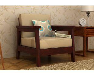 Conan 1 Seater Wooden Sofa (Mahogany Finish)