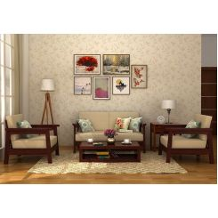Conan Wooden Sofa 2+1+1 Set (Mahogany Finish)