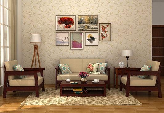 Conan 1 Seater Wooden Sofa (MahoganyFinish)