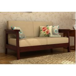 Conan 2 Seater Wooden Sofa (Mahogany Finish)