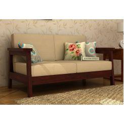 Conan 2 Seater Wooden Sofa (Mahogany Finish)
