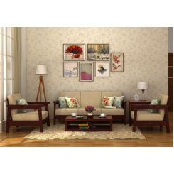 Conan Wooden Sofa 3+1+1 Set (Mahogany Finish)