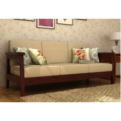 Conan 3 Seater Wooden Sofa (Mahogany Finish)