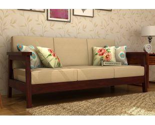 Conan 3 Seater Wooden Sofa (Mahogany Finish)