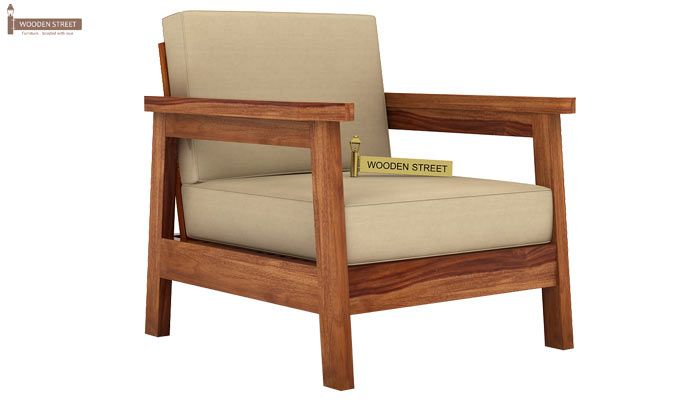 Conan 1 Seater Wooden Sofa (Teak Finish)-1