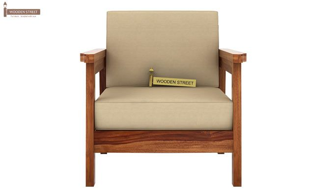 Conan 1 Seater Wooden Sofa (Teak Finish)-2