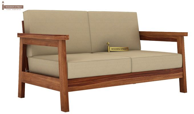 Conan 2 Seater Wooden Sofa (Teak Finish)-1
