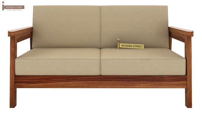 Conan 2 Seater Wooden Sofa (Teak Finish)-2